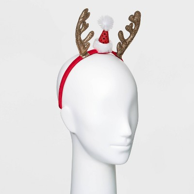 Dress Up Glitter Antlers Santa Hat Headbands - Red