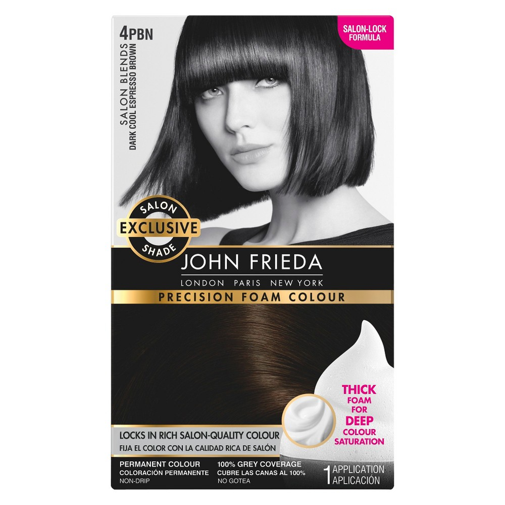 Image of John Frieda Precision Foam Colour Salon Blends Dark Cool Espresso Brown 4PBN - 1 Kit, 4PBN Dark Cool Brown Brown