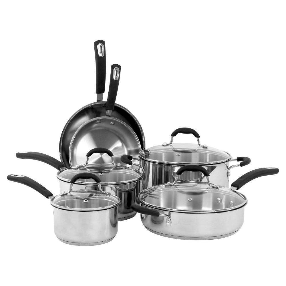 Image of Oneida 10 Piece Stainless Steel Cookware Set With Glass Lids, Silver