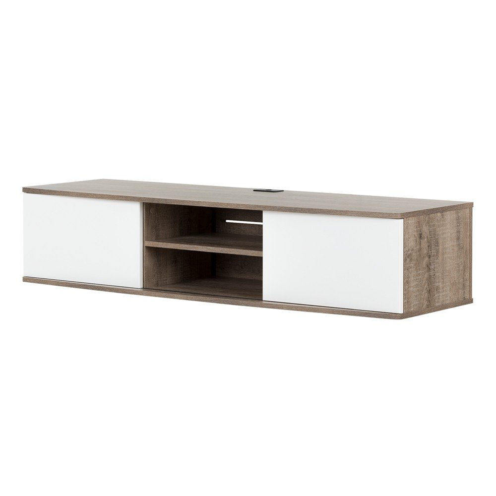 Agora Wall Mounted Media Console Weathered Oak And Pure White - South Shore