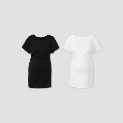 Maternity Short Sleeve Non Shirred 2pk Bundle T-Shirt - Isabel Maternity by Ingrid & Isabel™