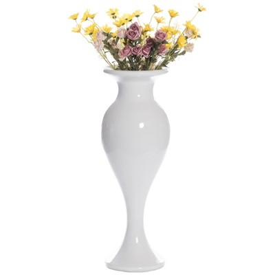 "Uniquewise Large White Round Trumpet Modern Fiberglass Freestanding Flower Vase 33"""