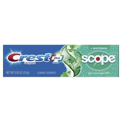 Crest Complete Whitening Plus Scope Multi-Benefit Fluoride Toothpaste Minty Fresh Travel Trial Size Toothpaste