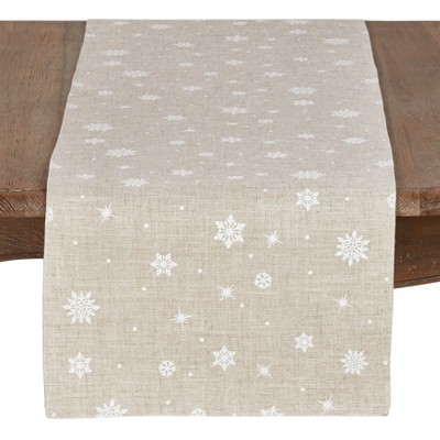 70  x16   Poly And Linen Christmas Table Runner With Snowflake Design Natural - Saro Lifestyle