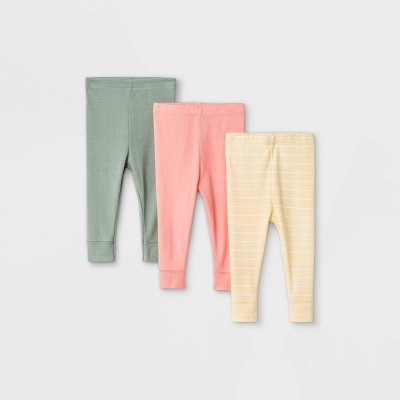 Baby Girls' 3pk Solid and Striped Pull-On Pants - Cloud Island™ Yellow/Pink/Green 12M