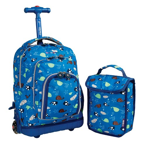 "J World 16"" Lollipop Rolling Backpack with Lunch Kit - Blue, Kids Unisex, Dark Blue"