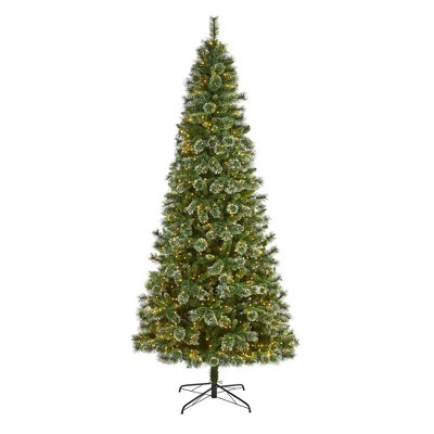 9ft Nearly Natural Pre-Lit LED Wisconsin Snow Tip Pine Artificial Christmas Tree Clear Lights
