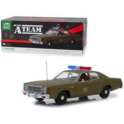 """1977 Plymouth Fury U.S. Army Police Army Green """"The A-Team"""" (1983-1987) TV Series 1/18 Diecast Model Car by Greenlight"""