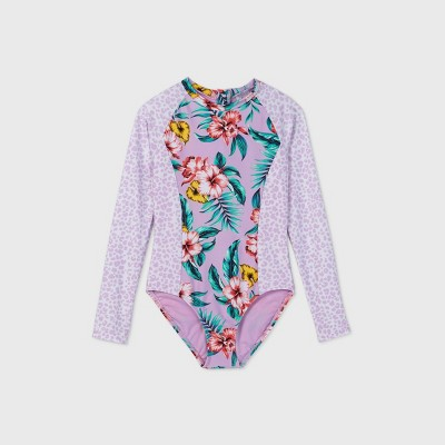 Girls' Animal and Floral Print Long Sleeve One Piece Swimsuit - art class™ Lilac