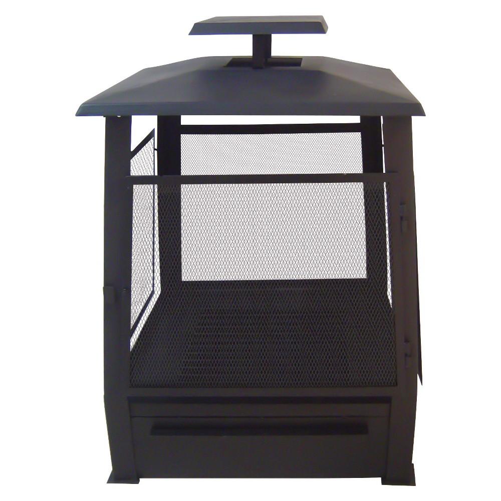 Esschert Design Outdoor Fireplace with Screen - Black