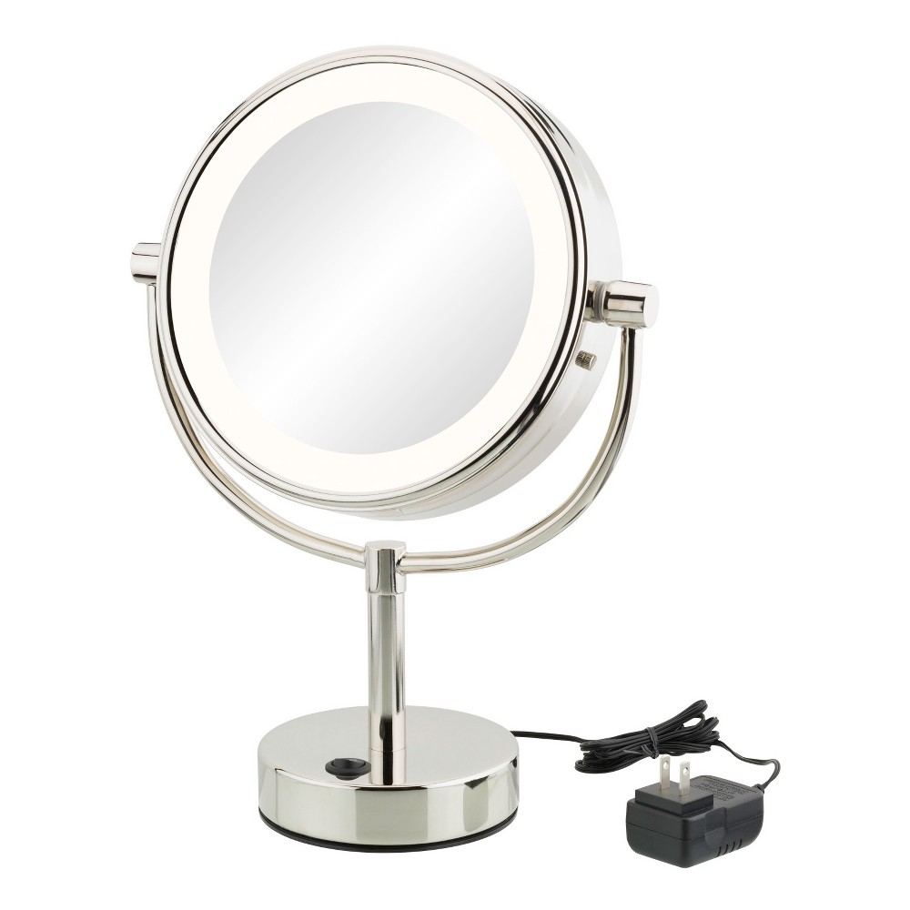 "Image of ""Aptations 5""""x1"""" Neomodern Led Lighted Freestanding Double Sided Vanity Mirror Chrome, Silver"""