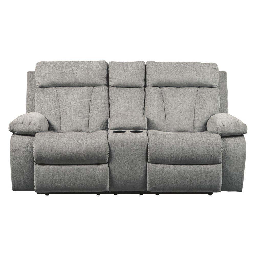 Mitchiner Double Reclining Loveseat with Console Light Gray - Signature Design by Ashley