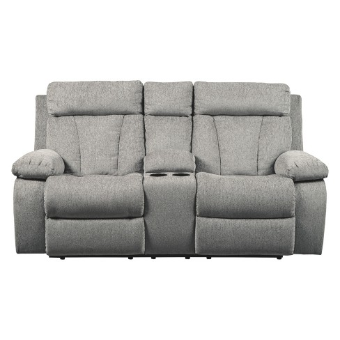 Mitchiner Double Reclining Loveseat With Console Light Gray Signature Design By Ashley