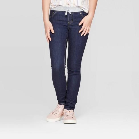 Girls' Knit Waist Jeans - Cat & Jack™ Dark Wash - image 1 of 3