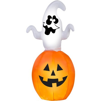 Gemmy Animated Airblown Spinning Ghost in Pumpkin, 5.5 ft Tall, Multicolored
