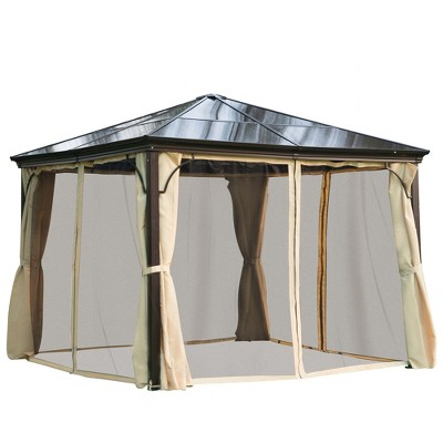 Outsunny Aluminum Frame Patio Gazebo Canopy with Polycarbonate Hardtop Roof, Mesh Net Curtains, & Durability