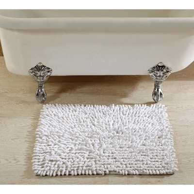 "17""x24"" Loopy Chenille Collection 100% Cotton Bath Rug White - Better Trends"