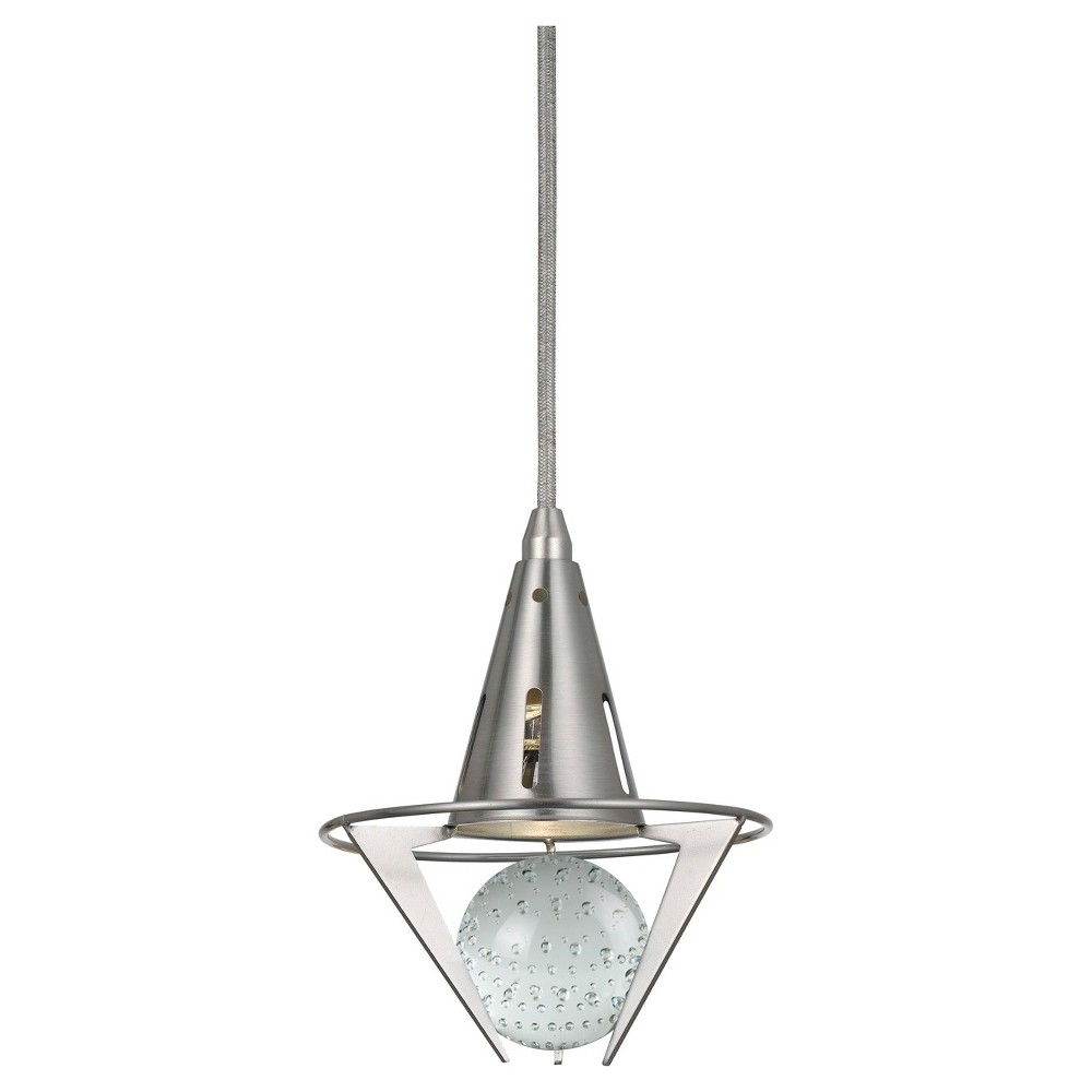 Cal Lighting Dimmable Led pendant with Clear Accent, Silver/White