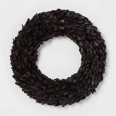Wreath Dried Leaf - Black - Smith & Hawken™