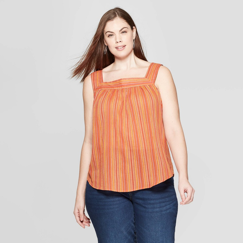 Women's Plus Size Striped Sleeveless Square Neck Top - Universal Thread Rust 1X, Red