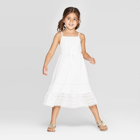 Toddler Girls' Eyelet Maxi A-Line Dress - Cat & Jack™ White - image 1 of 3