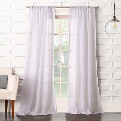 Avril Crushed Sheer Rod Pocket Curtain Panel White 50 x95  - No. 918