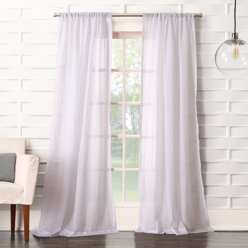Avril Crushed Sheer Rod Pocket Curtain Panel White 50