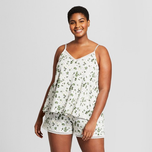 a30bb851fb19 Women s Plus Size Total Comfort Tank and Shorts Pajama Set - Gilligan    O Malley™ Gray Floral