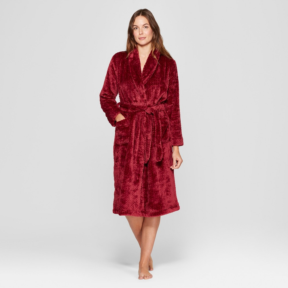 Women's Cozy Plush Robe Burgundy (Red) M/L