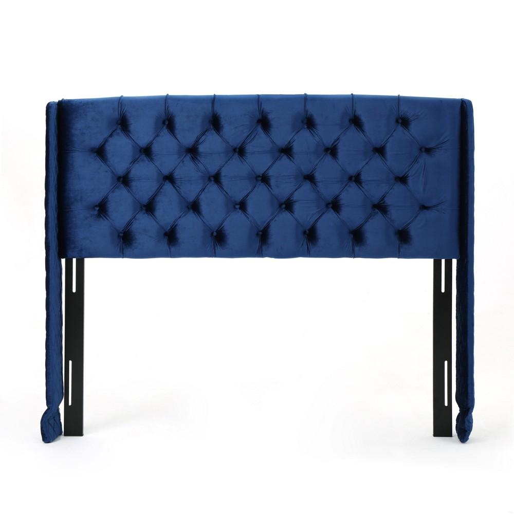 Queen/Full Lidia Wingback New Velvet Tufted Headboard Navy (Blue) - Christopher Knight Home