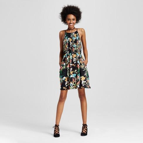 a07bc5014c Women s High-neck Smocked Fit   Flare Dress - Xhilaration™ (Juniors ) Black
