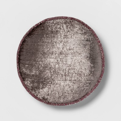 Round Textured Velvet Decorative Throw Pillow Smoke - Opalhouse™