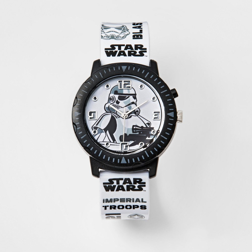 Kids Star Wars Stormtrooper Rotating Lights Analog Watch, Kids Unisex, Black
