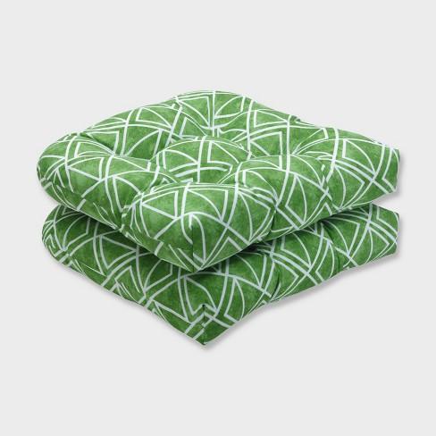2pk Lanova Palm Wicker Outdoor Seat Cushions Green - Pillow Perfect - image 1 of 3