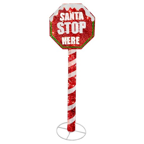 5' Sisal Lit Red Stop Sign Pole - image 1 of 1