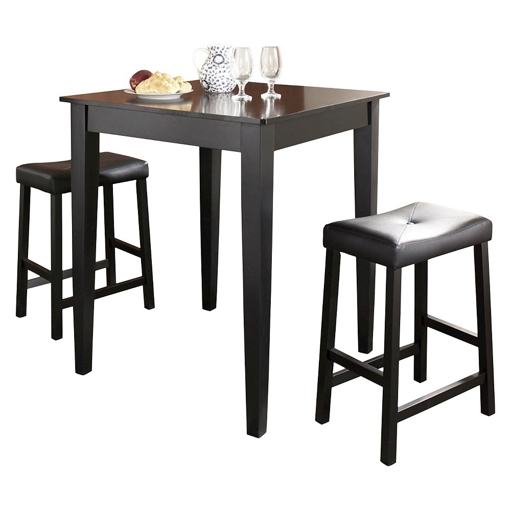 3 Piece Pub Dining Set with Tapered Leg and Upholstered Saddle Stools - Black Finish - Crosley