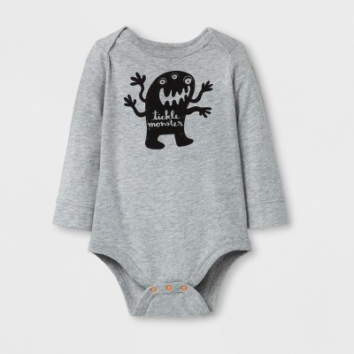 Baby Boy 'tickle monster' Long Sleeve Bodysuit - Cat & Jack™ Gray Newborn