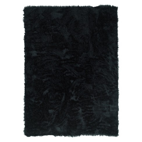 "Faux Sheepskin Accent Rug - Black (22""x34"") - image 1 of 1"