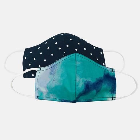 Kids' 2pk Polka Dot Cloth Face Masks - Cat & Jack™ Blue - image 1 of 3