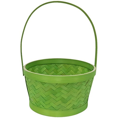 Easter Small Herringbone Bamboo Green Basket - Spritz™ - image 1 of 1