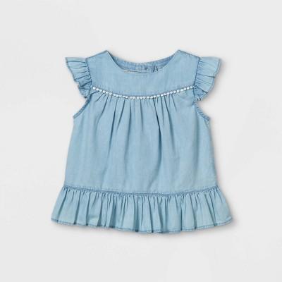 OshKosh B'gosh Toddler Girls' Flutter Short Sleeve Tank Top - Blue 12M