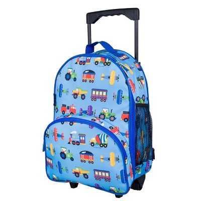 "WildKin 34"" Olive Kids' Rolling Carry On Suitcase - Trains-Planes & Trucks"