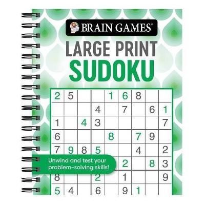 Brain Games - Large Print Sudoku (Swirls) - (Brain Games Large Print) (Spiral Bound)
