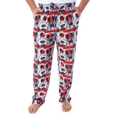 Marvel Men's Deadpool Chibi Character Print Adult Sleep Lounge Pajama Pants