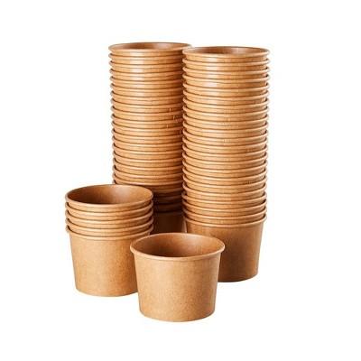 Juvale Ice Cream Sundae Cups (100 Pack) Disposable Kraft Paper Dessert Frozen Yogurt Bowls 8-Ounce, Brown