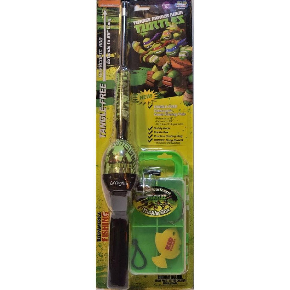 Image of Kid Casters Teenage Mutant Ninja Turtles Telescopic No Tangle Fishing Rod with Tackle Box - Green, Blue Green