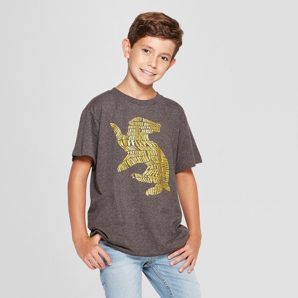 Boys' Harry Potter Hufflepuff Short Sleeve Graphic T-Shirt - Charcoal Heather XL, Gray