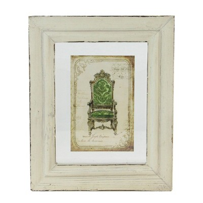 """Raz Imports 7.25"""" x 6"""" Decorative Antique Style Beige and Green Victorian Chair Print Framed Wall Art"""