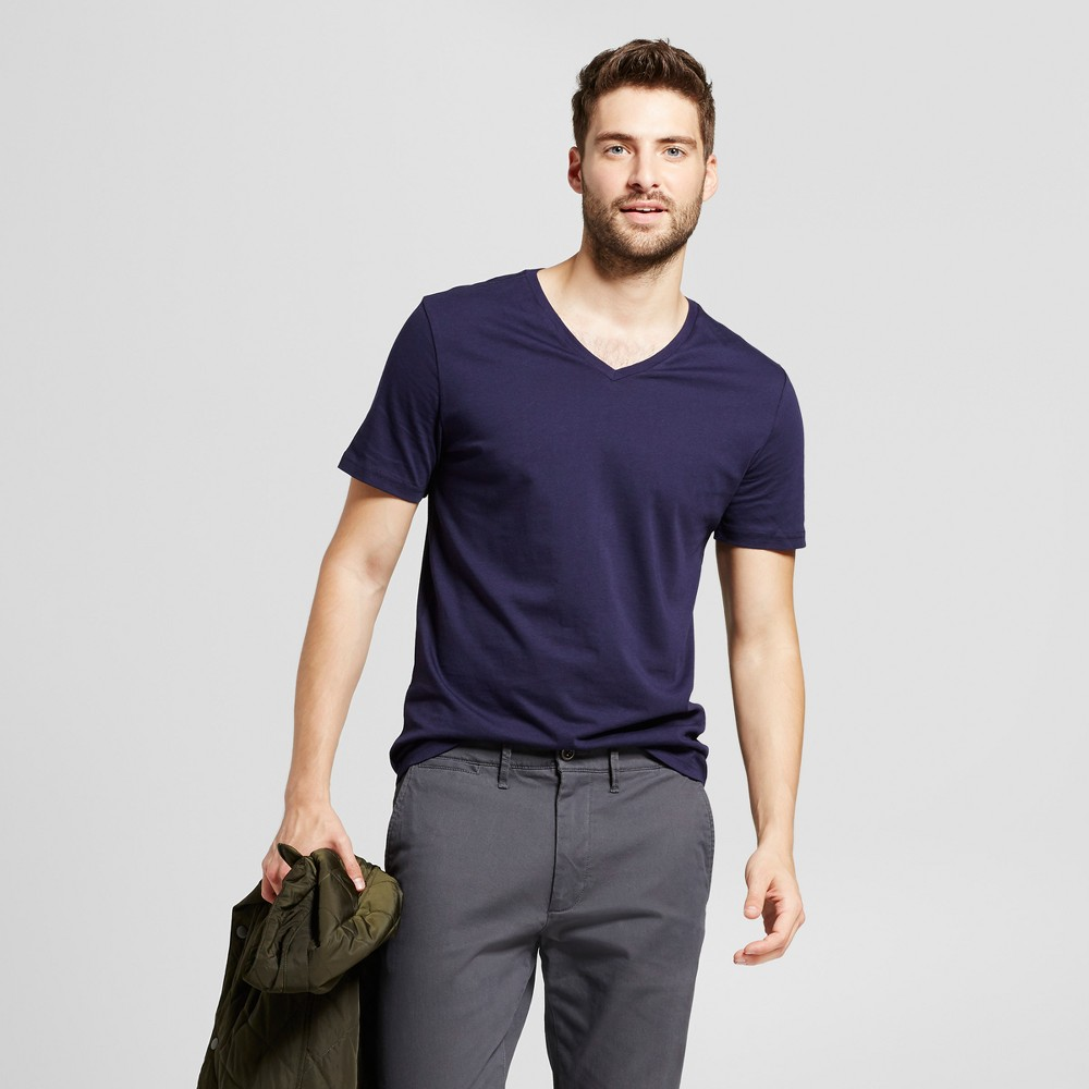 Men's Slim Fit Solid V-Neck T-Shirt - Goodfellow & Co Navy (Blue) M