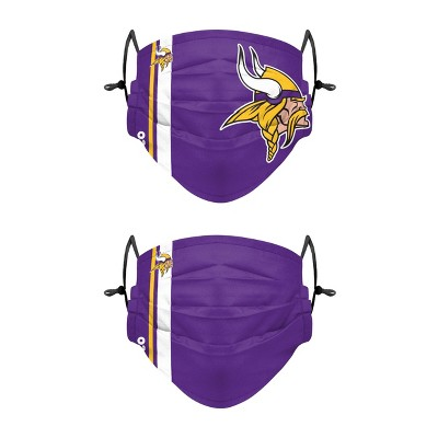 NFL Minnesota Vikings Youth Gameday Adjustable Face Covering - 2pk